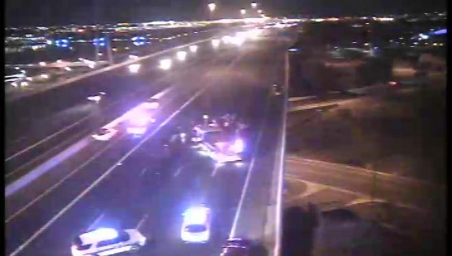 Loop 202 Red Mountain WB closed at Scottsdale Rd on Monday, Dec. 18, 2017.