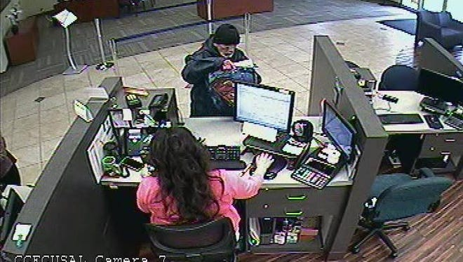 Salinas police are looking for this man, who allegedly robbed the Central Coast Credit Union on S. Main Street