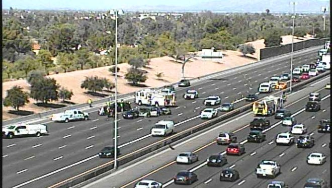A collision on U.S. 60 east of Phoenix closed eastbound lanes at Gilbert Road just before 9 a.m. on May 23, 2018.