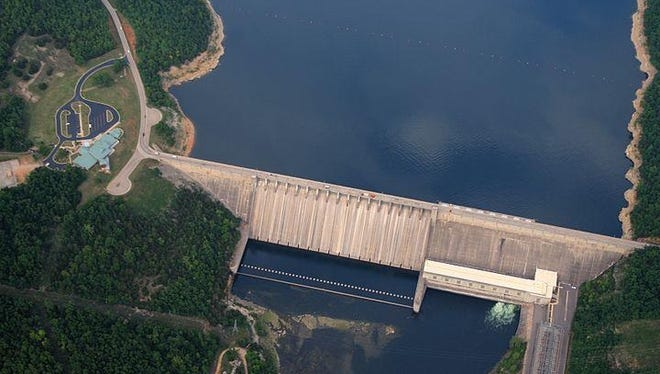 Aerial view of Bull Shoals Dam, which was in the vicinity of the drowning on Sunday.