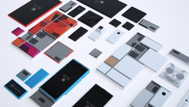 A view of the smartphones and modules running under Motorola's Project Ara.