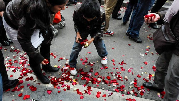 Collecting rose petals.
