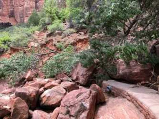 Fallen boulders smashed a section of the Kayenta Trail