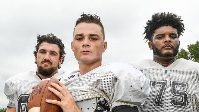 Crescent High School football three players to watch, from left; linebacker CC Spires, quarterback Dawson Merk, and offensive lineman Cam Richardson.