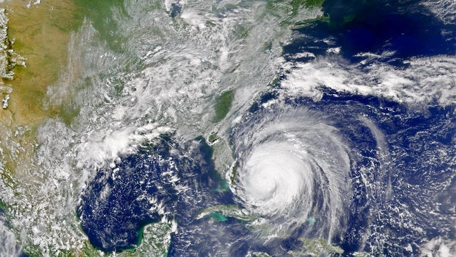 The first bands of Hurricane Frances approach the coast of Florida in 2004.