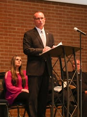 TBI Deputy Director Jason Locke speaks during the Hendersonville Police Department Police Memorial Service to honor fallen heroes at Hendersonville Church of Christ on Monday, May 14.