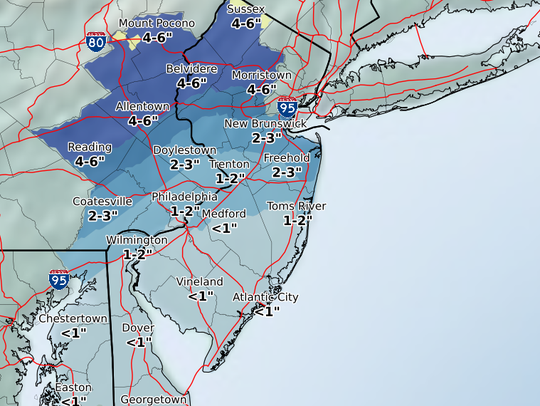 An inch or 2 is likely for much of Monmouth and Ocean