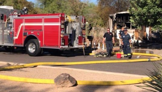 Phoenix firefighters on Sept. 21, 2017, responded to a mobile-home fire in north Phoenix, where they found the body of a man.
