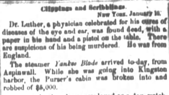 The Jan. 13, 1854 edition of The Enquirer. A physician was apparently killed, found with paper in his hand and a pistol on the table.