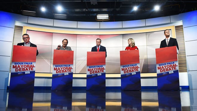 Sioux Falls mayoral candidates Jim Entenman, from left, Mike Gunn, Greg Jamison, Jolene Loetscher, and Paul Ten Haken have a live debate co-hosted by the Argus Leader and KSFY Monday, April 2, at KSFY in downtown Sioux Falls.