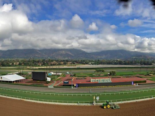 General view of Santa Anita race track.