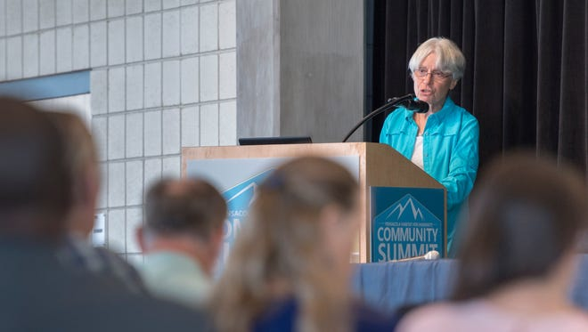"Keynote speaker Caren Goldman talks during the Habitat Community Summit - ""Building Community -Enhancing our Sense of We"" at the Sanders Beach Corinne Jones Resource Center in Pensacola on Wednesday, August 23, 2017."