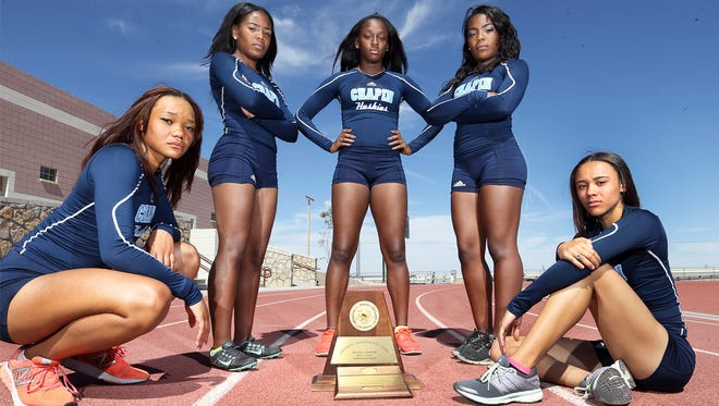 Five state qualifiers for Chapin High School will compete in the state track and field championships Friday in Austin. They are from left: Shailah Thornton, Autumn Brown, Jourdin Bailey, Ashley Brown, and Jadsia Warden.