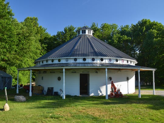 The outside view of Bill Kitchens' new round barn.