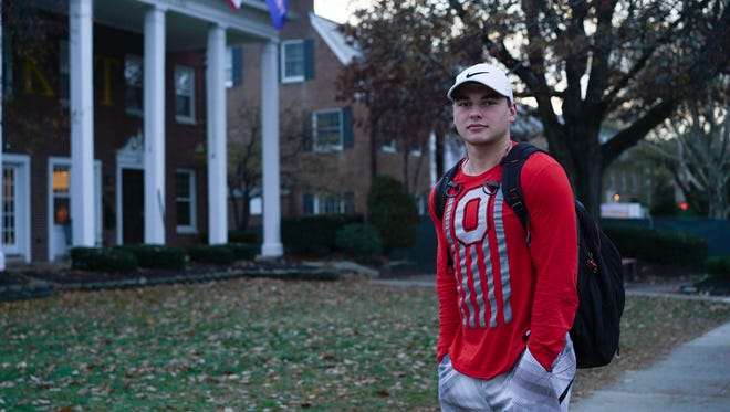 Jake Chobany, a sophomore at Ohio State University who aspired to join a fraternity, poses for a picture in Columbus, Ohio. Ohio State has joined a growing list of schools hitting pause on Greek life as they grapple with how to prevent hazing, alcohol misuse and other misconduct.