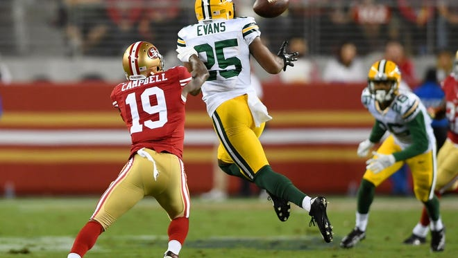 Getty Images Marwin Evans (25) of the Green Bay Packers intercepts a pass jumping in front of DiAndre Campbell (19) of the San Francisco 49ers at Levi?s Stadium on Friday. SANTA CLARA, CA - AUGUST 26:  Defensive back Marwin Evans #25 of the Green Bay Packers intercepts a pass jumping in front of wide receiver DiAndre Campbell #19 of the San Francisco 49ers in the second half of their preseason football game at Levi's Stadium on August 26, 2016 in Santa Clara, California.  (Photo by Thearon W. Henderson/Getty Images)