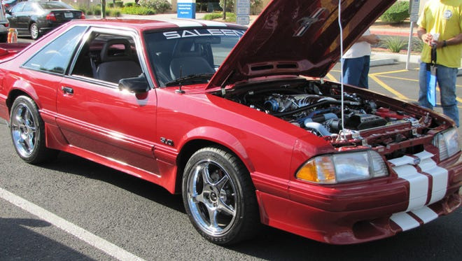 Angelo Cellura's 1988 Saleen tribute Mustang has many modifications, including a 302-cubic-inch V-8 with GT40 cylinder heads, Crane camshaft and chrome engine package.