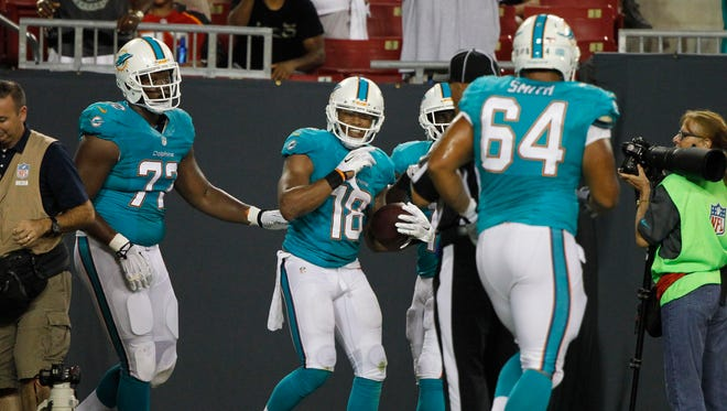 Miami Dolphins wide receiver Rishard Matthews is congratulated by teammates after he scored against the  Tampa Bay Buccaneers during the second quarter at Raymond James Stadium.