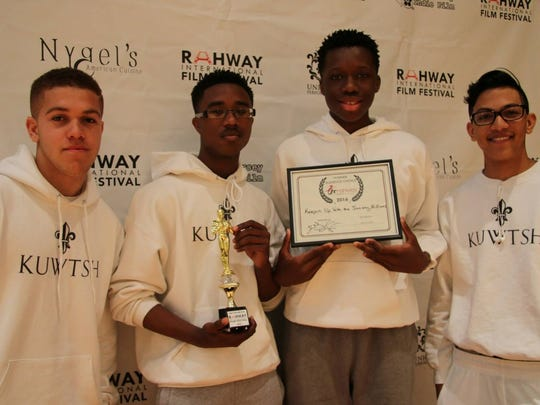 """""""Audience Choice"""" winners, the student filmmakers and cast of """"Keeping Up with the Society Hillians"""", Cadian McGaw Jr., Kareem Brock, Trey Sargent, & Seth Phillip of Marist High School in Bayonne, RFF Jr.- May 21."""