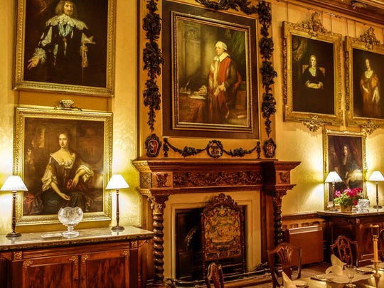 "The dining room of Highclere Castle, which was the setting for dinners full of family intrigue in ""Downton Abbey"""