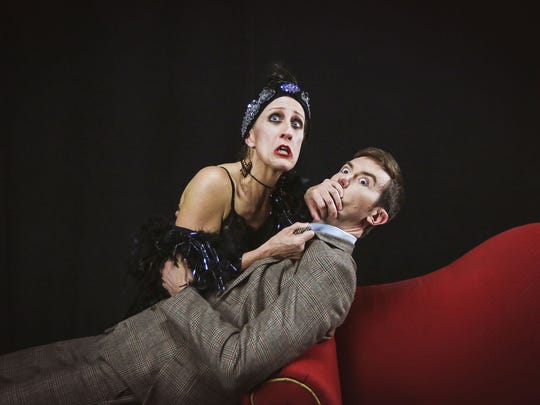 "Sally Jo Bannow and Toby Yatso star in Phoenix Theatre's ""Bullets Over Broadway."""