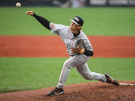 OSU's Bryce Fehmel tossed a five-hitter with 10 strikeouts in the Beavers' 9-2 victory against Vanderbilt to clinch the Corvallis Super Regional at Goss Stadium on June 10, 2017.