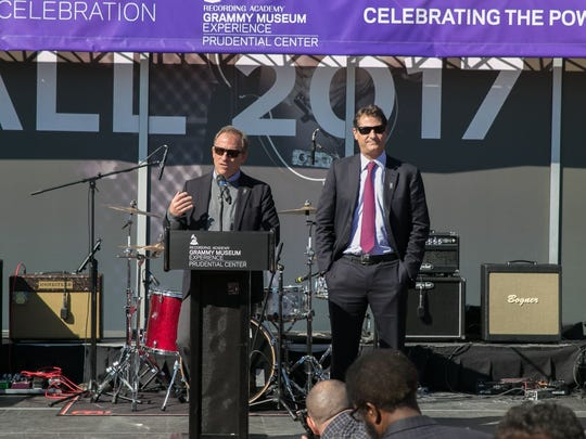 HBSE Co-Founders Josh Harris and Davis Blitzer. The Grammy Museum Experience held a ribbon cutting ceremony to celebrate its grand opening at the Prudential Center in Newark. 10/19/2017