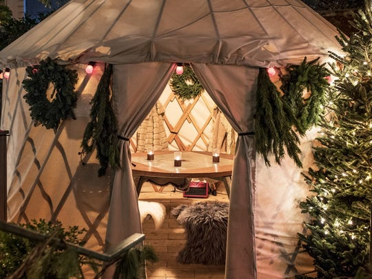 Have a fun, festive dinner in a yurt in the outdoor