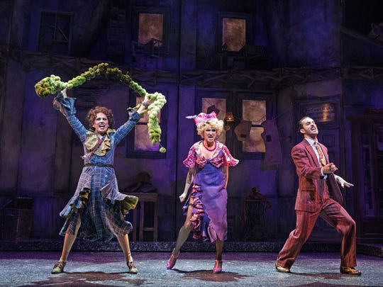 """From left, Beth Leavel, Kim Sava and Cooper Grodin in the Paper Mill Playhouse production of """"Annie."""""""