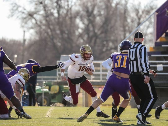 Midwestern State quarterback Layton Rabb takes off