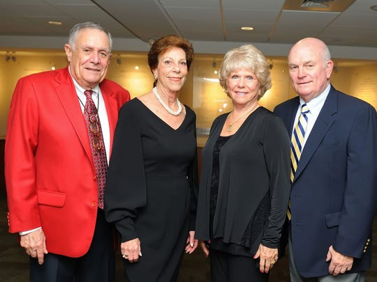 Rick and Peggy Katz, left, with Karen Gomer and Jim Howenstine at the Maltz Jupiter Theatre in November.