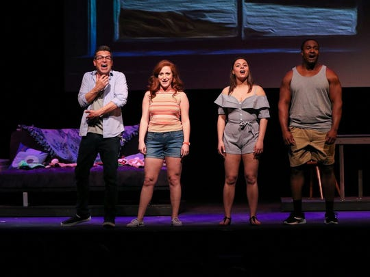 """Daniel Robert Sullivan, Allie Ambriano, Clare Fitzgerald, and Shabazz Green appear in the New Jersey Premiere of """"A Dog Story,"""" playing through April 22 at the Bickford Theatre in Morristown."""