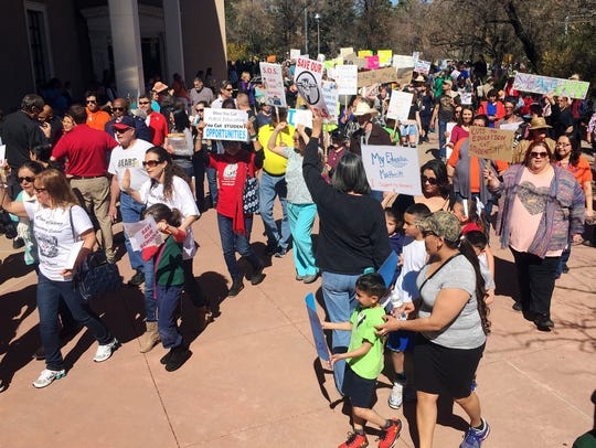 A rally in support of greater state funding for public