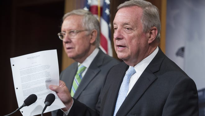 Minority Leader Harry Reid, D-Nev., left, and Minority Whip Dick Durbin, D-Ill.
