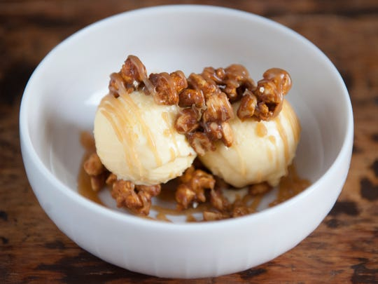Cracker Jax Sundae with buttered popcorn ice cream and peanut popcorn toffee at The Love in Philadelphia.