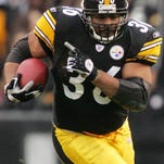 In this Jan. 1, 2006 photo, Pittsburgh Steelers running back Jerome Bettis carries the ball for 12 yards and a first down against the Detroit Lions in an NFL game in Pittsburgh. Bettis waited five years to be elected to the Pro Football Hall of Fame. Expect lots of Steelers fans to be on hand for quite a celebration in Canton, Ohio, on Saturday when he is inducted.