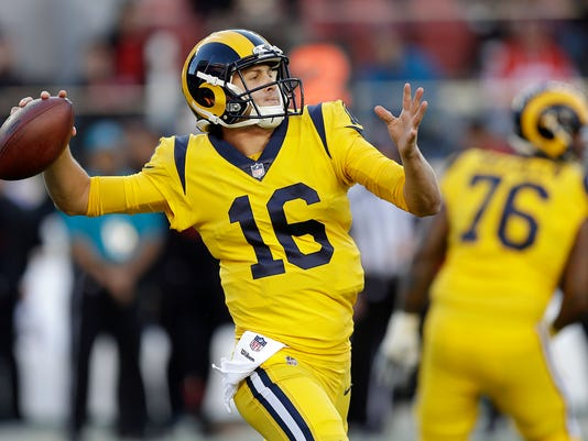 FILE - In this Sept. 21, 2017, file photo, Los Angeles Rams quarterback Jared Goff (16) passes against the San Francisco 49ers during the first half of an NFL football game in Santa Clara, Calif. The Rams (5-2) are this year's road warriors heading into Sunday's game at MetLife Stadium against the self-destructing and disappointing New York Giants (1-6). (AP Photo/Ben Margot, File)
