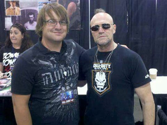 Nicolas Coffelt (left) with actor Michael Rooker, known