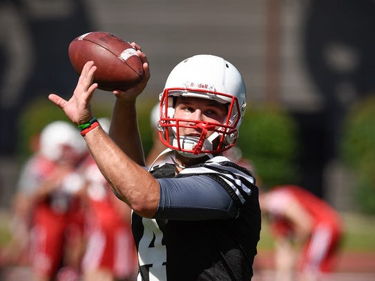 St. John's quarterback Ben Alvord looks for his receiver