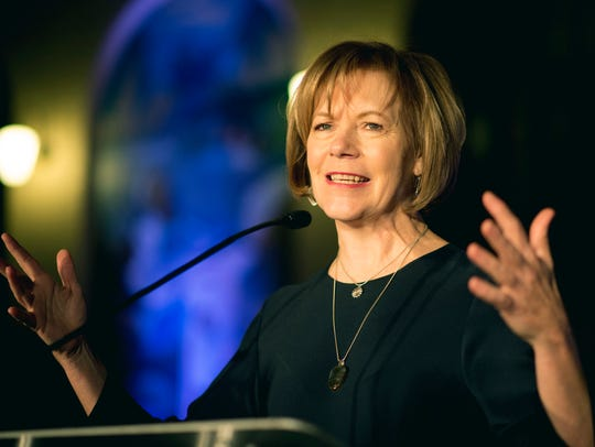 In this Jan. 10, 2015, file photo, Minnesota Lt. Gov. Tina Smith speaks in St. Paul, Minn. Smith filled U.S. Sen. Al Franken's seat after he announced his resignation amid multiple sexual misconduct allegations Thursday, Dec. 7, 2017, on the Senate floor in Washington.