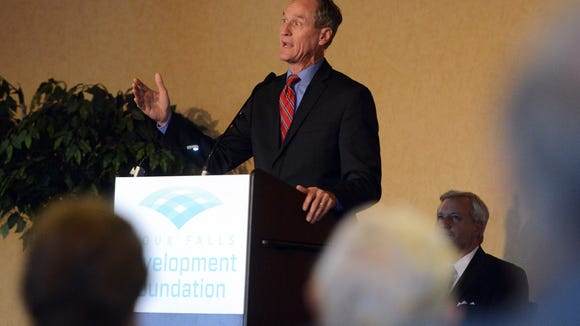 Governor Dennis Daugaard speaks during an announcement of Foundation Park at a Sioux Falls Development Foundation event in June of 2015.