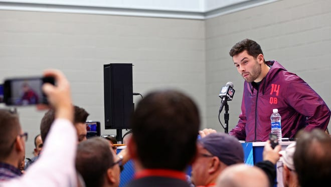 Oklahoma quarterback Baker Mayfield speaks with media during the NFL Combine at the Indianapolis Convention Center.