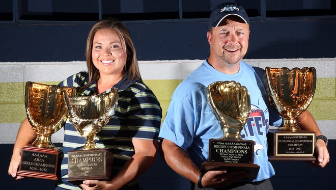 Ashley Perez, left, of Coronado and Kevin Mills of Chapin are the El Paso Times All-City softball Coaches of the Year.