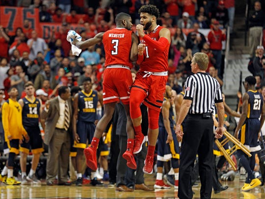Texas Tech's Josh Webster (3) and Brandone Francis (1) celebrate during the second half of an NCAA college basketball game against West Virginia, Saturday, Jan. 13, 2018, in Lubbock, Texas. (AP Photo/Brad Tollefson)