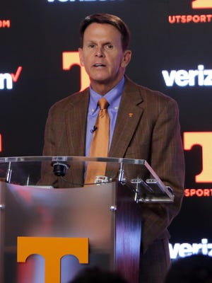 Tennessee Volunteers Vice Chancellor/Director of athletics Dave Hart speaks at the Brenda Lawson Athletic Center.