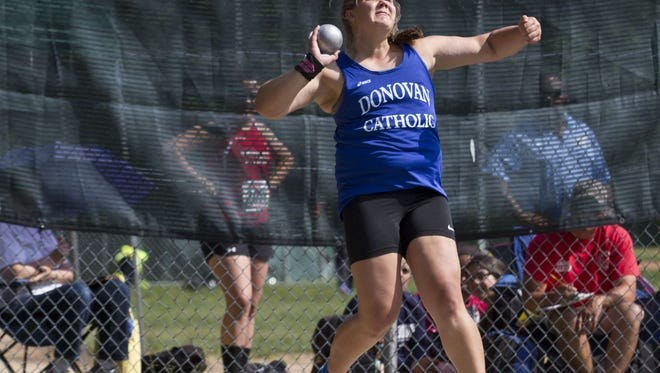 File photo Alyssa Wilson of Donovan Catholic. Doug Hood/Staff Photographer Alyssa Wilson of Donovan Catholic competes in the shot put at the NJSIAA Meet of Champions in South Plainfield on Wednesday. Alyssa Wilson of Donovan Catholic competes in the shot put event. Track & Field Meet of Champions at Jost Field in South Plainfield. South Plainfield, NJ Wednesday, June 03, 2015 Doug Hood/Staff Photographer @dhoodhood