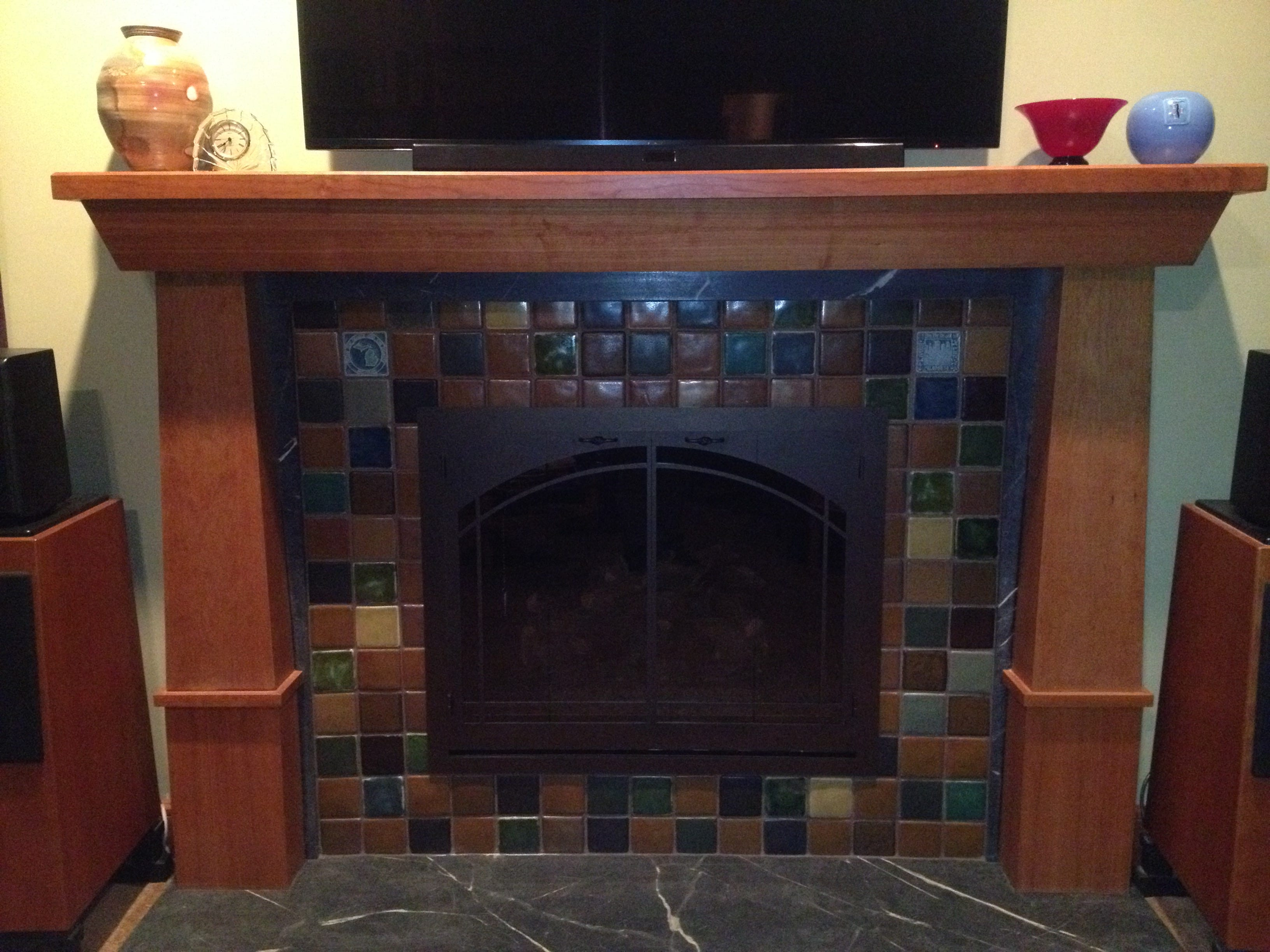 Pewabic fireplace makeover warms homeowners' hearts