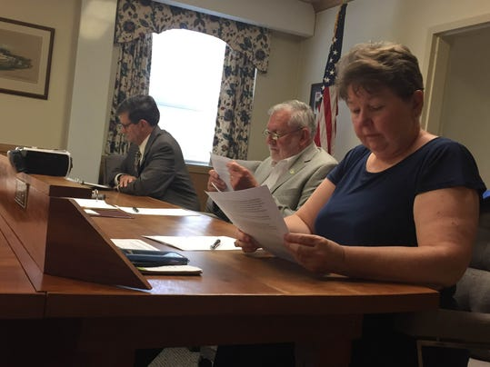 The Lebanon County commissioners (from left) Bob Phillips, Bill Ames and Jo Ellen Litz discuss pipeline issues at Wednesday's workshop meeting.