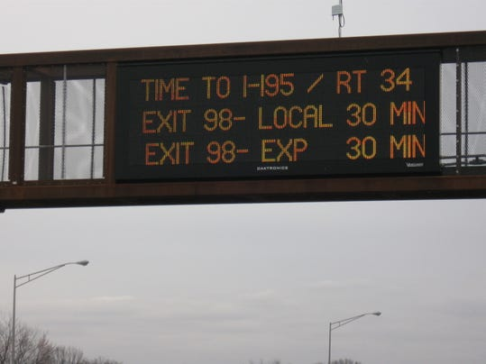 parkway south boaund VMS sign with times.jpg
