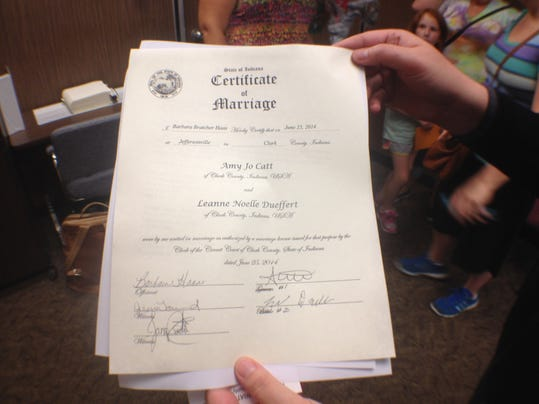 indiana same sex marriage license in Fresno